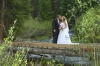 Bride and Groom on small bridge